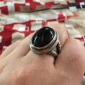 Jewelry - Vintage 14K Gold Onyx & Sterling Silver Ring